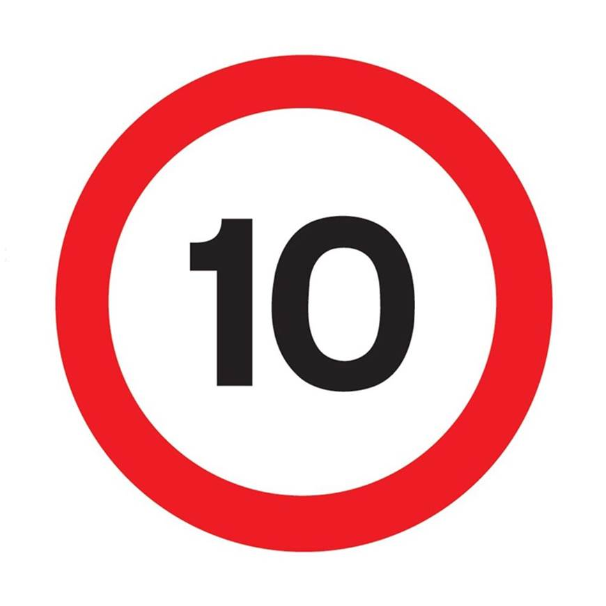Picture of 10 MPH Limit Sign